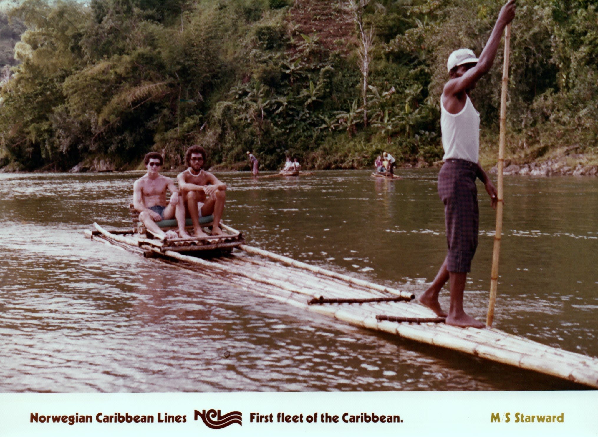 Billy's Father and his Friend on a Bamboo Raft int he mid-1970s