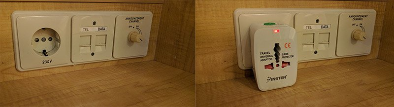 euopean power adapter on a cruise ship vanity