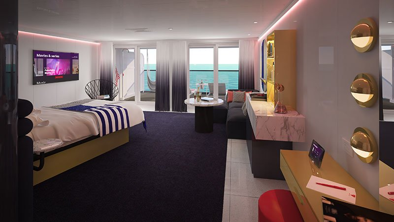 Gorgeous Suite on Virgin Voyages' Scarlet Lady