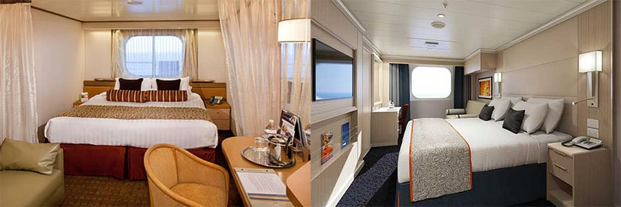 two different ocean view room layouts on HAL
