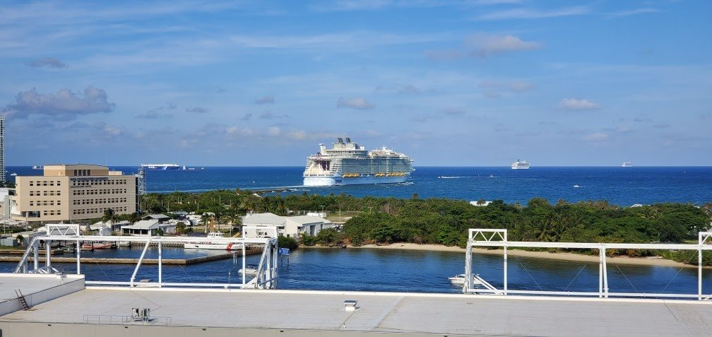 Harmony of the Seas Sailing Out of Port Everglades as Seen from Nieuw Statendam