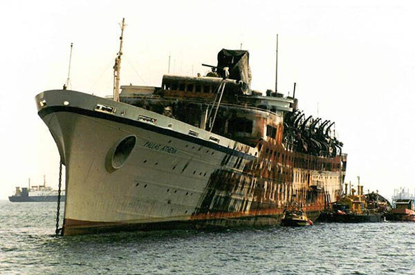 Pallas Athena laid up in Perama Bay in 1994 after its fire.