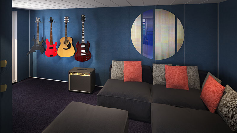 Music Room in Massive Suite on Virgin Voyages' Scarlet Lady
