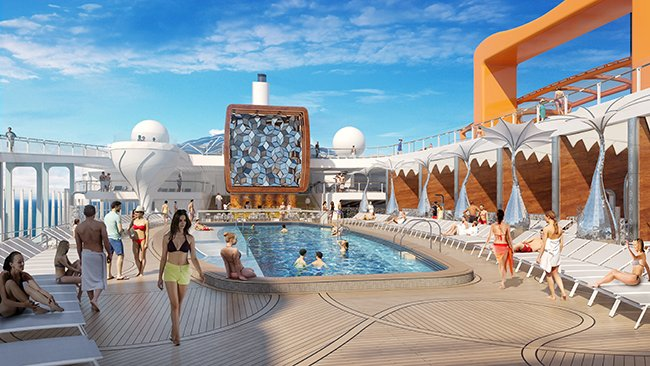 Celebrity Edge's pool deck, Magic Carpet to the right