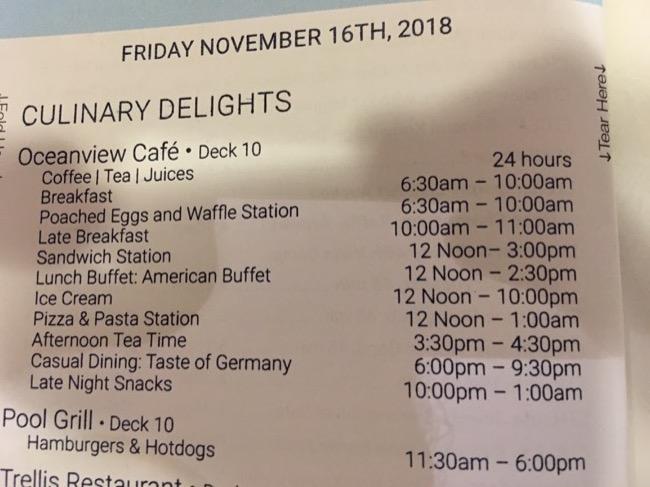 Celebrity Today Restaurant Hours