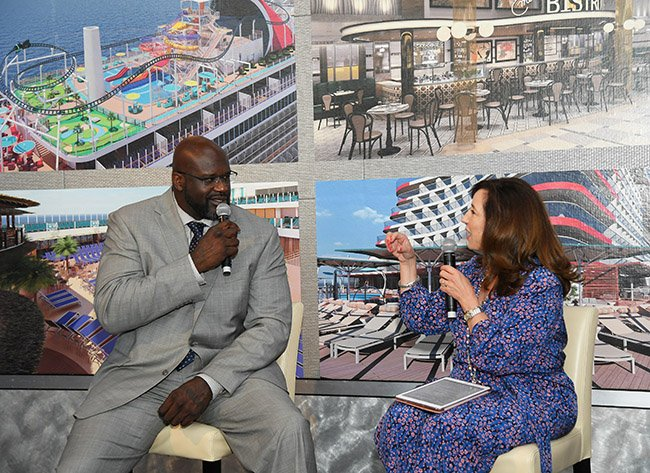 Carnival's CFO (Chief Fun Officer), Shaquille O'Neal and Chrsitin Duffy, president of Carnival Cruise Line