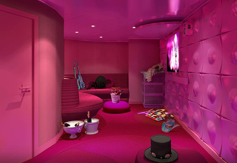 The Groupie Karaoke, Gaming, and Movie Lounge on Virgin Voyages' Scarlet Lady