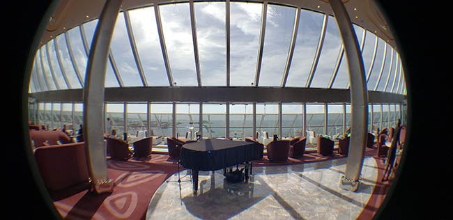 Sailing out of Nassau in MSC Seaside's Top Sail Lounge for Yacht Club guests