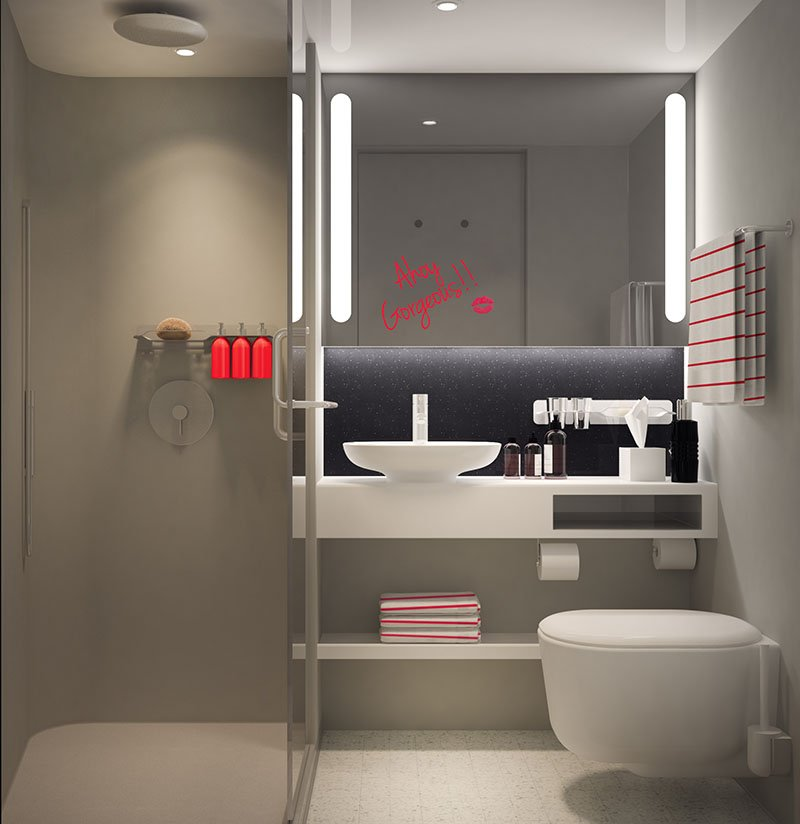 Rain Shower Bathroom on Virgin Voyages' Scarlet Lady