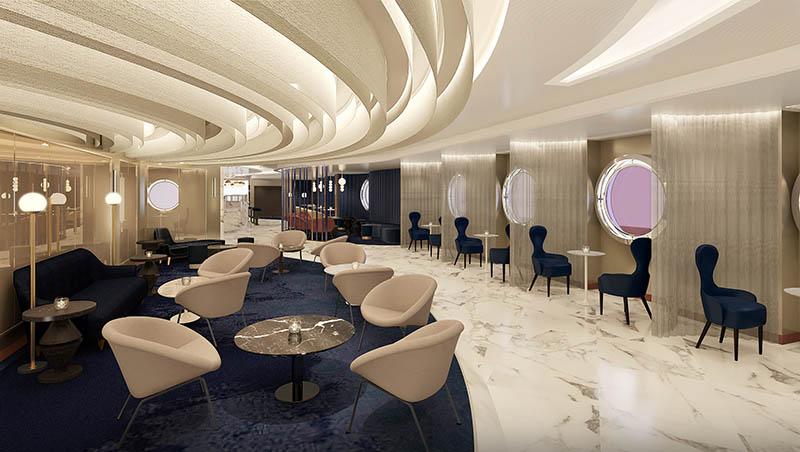 """Sip"" Champagne & Caviar Bar on Virgin Voyages' Scarlet Lady"