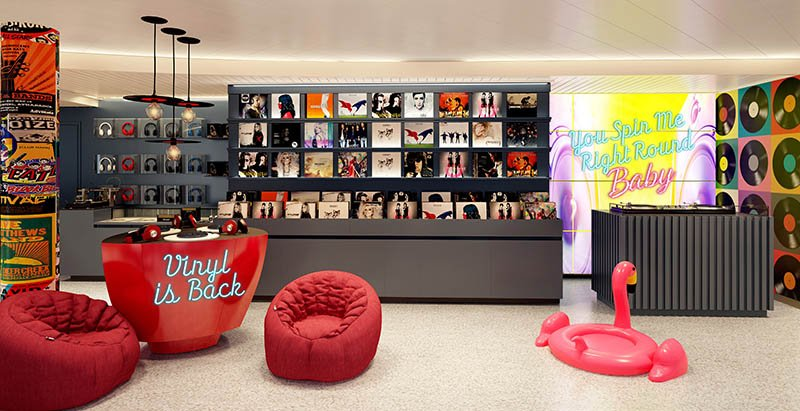 Voyage Vinyl record shop on Virgin Voyages' Scarlet Lady