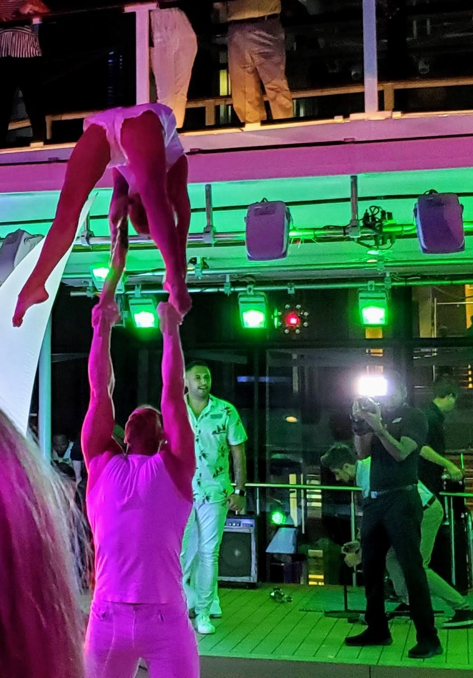 Acrobats at Celebrity Equinox's Full Moon Party