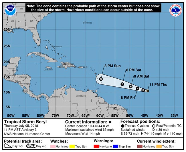 Will Tropical Storm Beryl affect MSC Seaside July 7?
