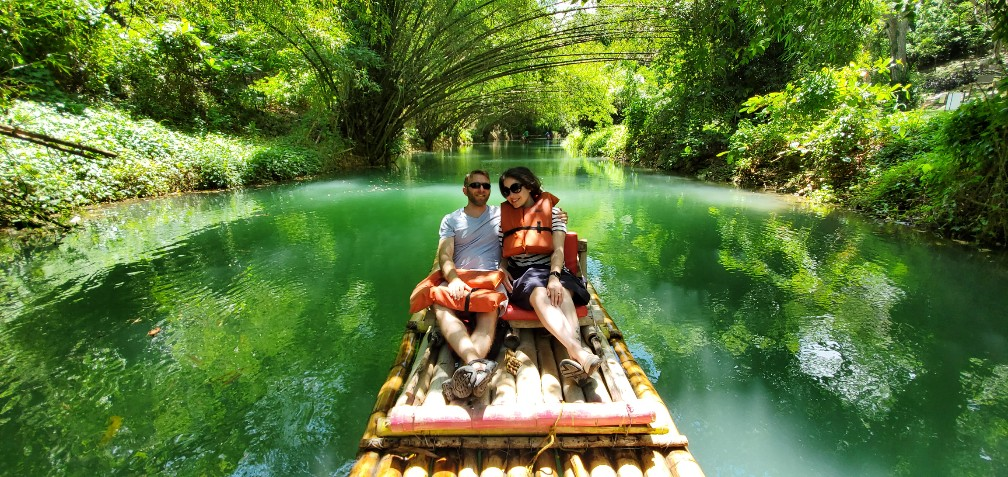 "Billy and Larissa on the Martha Brae Bamboo Raft Excursion - Photo by ""Captain"" Richard"