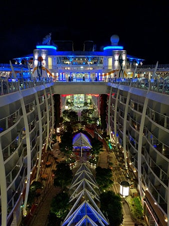 Central Park from above on the Allure of The Seas - At night