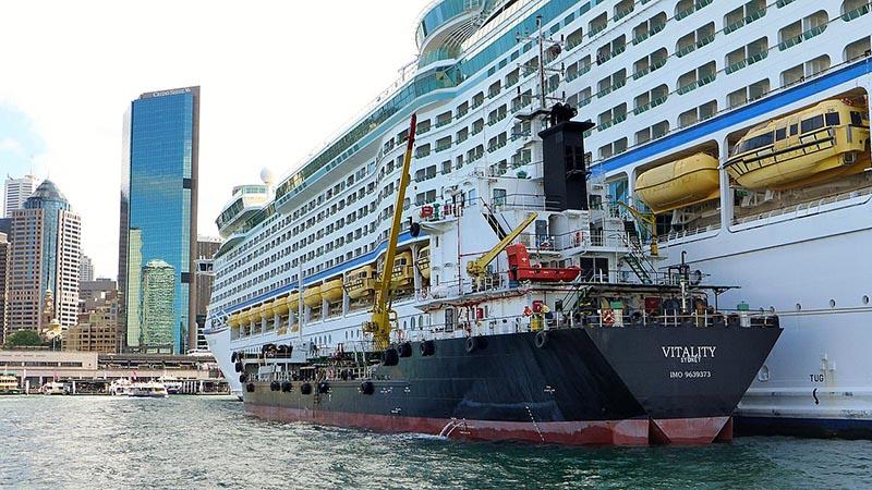 Cruise Ship Undergoing Bunkering Operations - Photo Courtesy: Bahnfrend