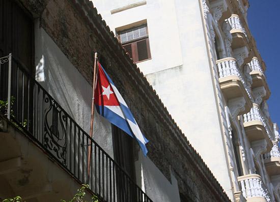 Cuban Flag on a Balcony in Havana