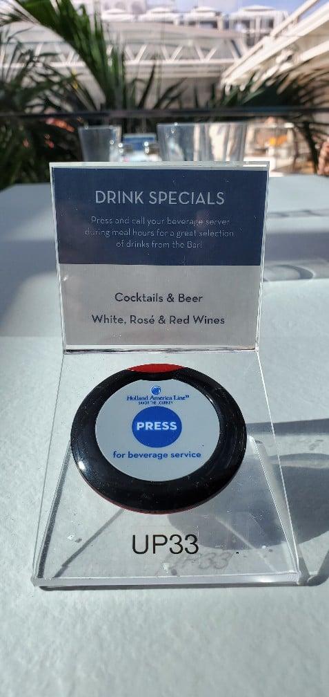 Drink Order Button on Holland America Line Nieuw Statendam