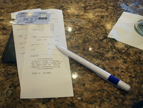 zero dollar receipt - drink package