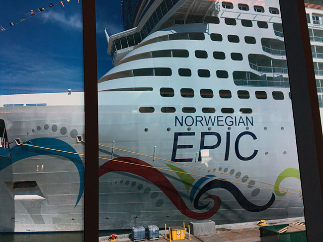 Norwegian Epic as seen from check-in at Port Canaveral