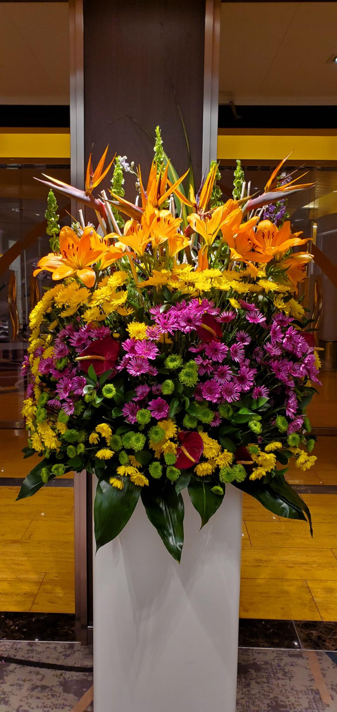 Pretty Flower Arrangements Change Often on HAL's Nieuw Statendam - We Found These as We Walked Around