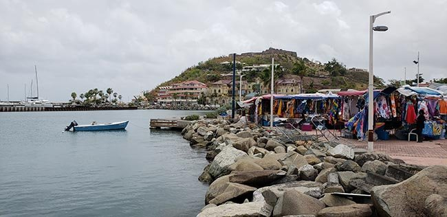 Fort Louis watching over the market in St Martin