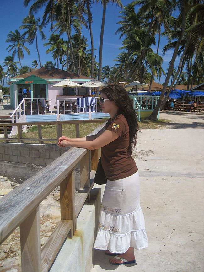 Taken in 2008: Behind Larissa is the Former Beach Bar, Now Site of the Bicardi Bar on Great Stirrup Cay