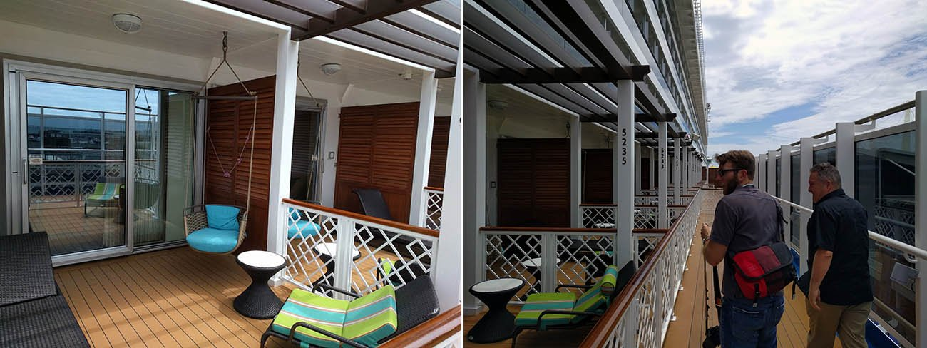 "An extreme example, Carnival Vista offers ""Havana Cabana"" rooms offering no privacy at all"