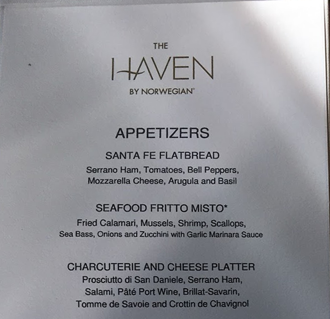 Haven Restaurant Menu