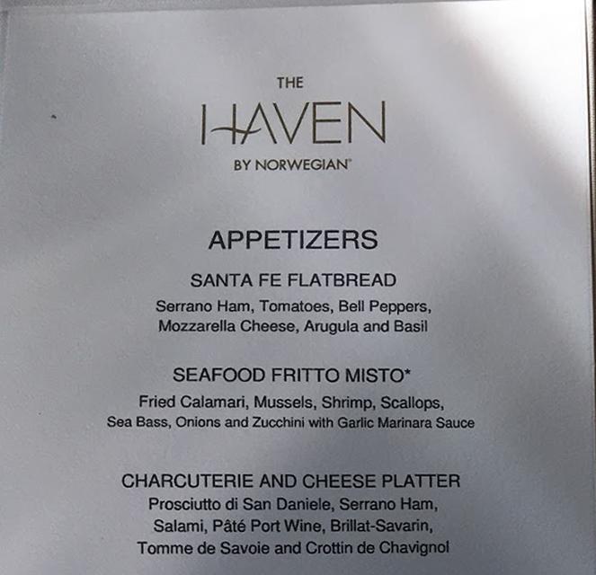 Haven Restaurant Menu