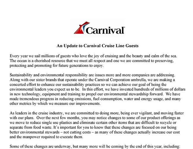 Carnival Brand Ambassador John Heald's Letter on Recent Changes