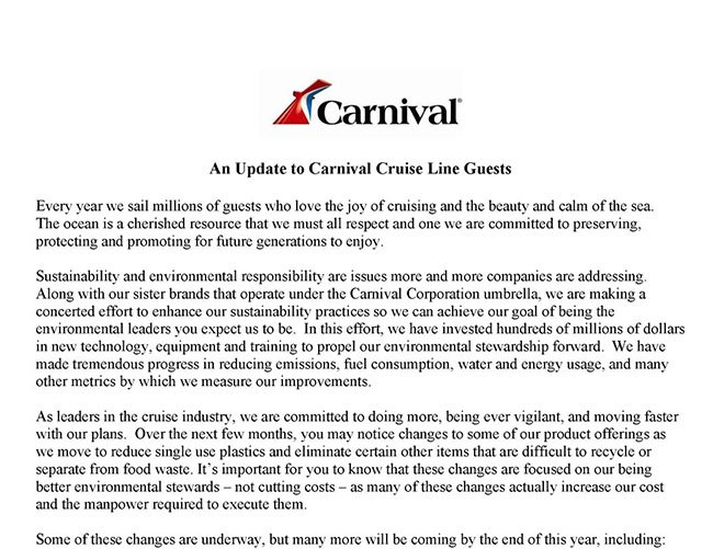 Carnival Brand Ambassador John Heald's Letter on Recent Changes