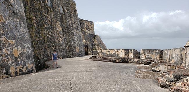 Large Walls Between Two Levels of El Morro in Old San Juan