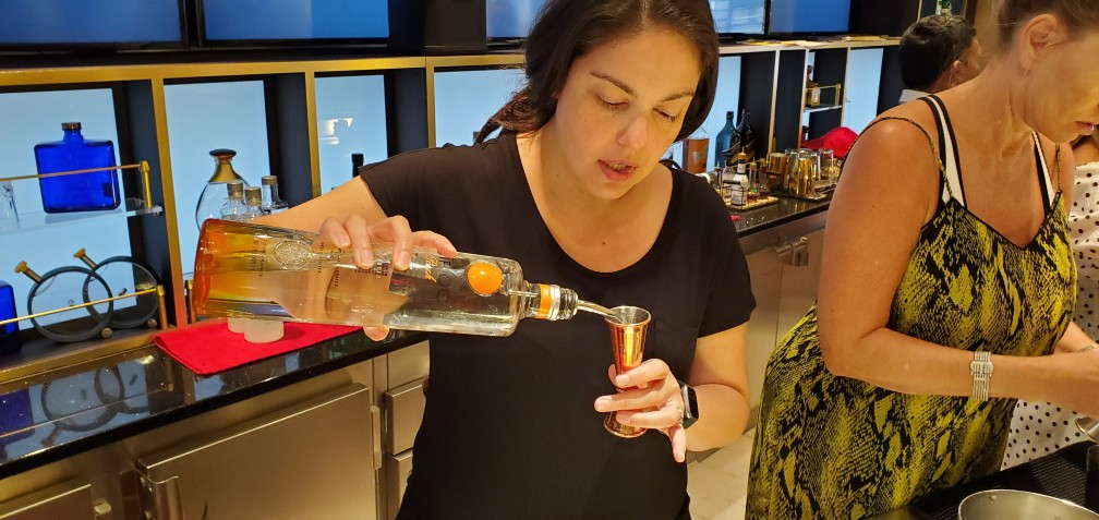 Larissa Making Drinks at the Mixology Class on Celebrity Equinox