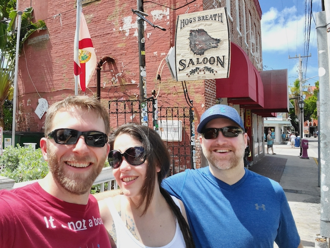 Larissa, Ric, and Billy in Front of Hogg's Breath Saloon in Key West