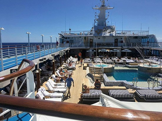 Even on a day like this there is no shortage of loungers on the deck of Oceania Sirena