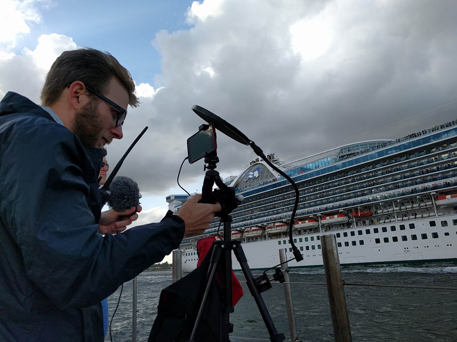 billy scoping as the caribbean princess sails out of port everglades