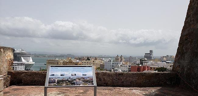 Old San Juan and MSC Seaside as seen from Fort San Cristobol