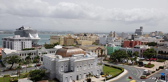 View of Old San Juan and MSC Seaside from Fort San Cristobol