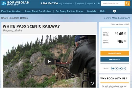 White Pass Scenic Railway as seen on NCL's Excursions Page