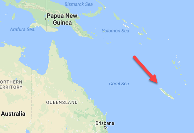 New Caledonia is a French territory east of Australia.