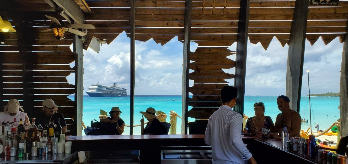 Nieuw Statendam and Half Moon Cay Beach from the Pirate Bar