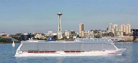 render of the Norwegian Bliss in Seattle