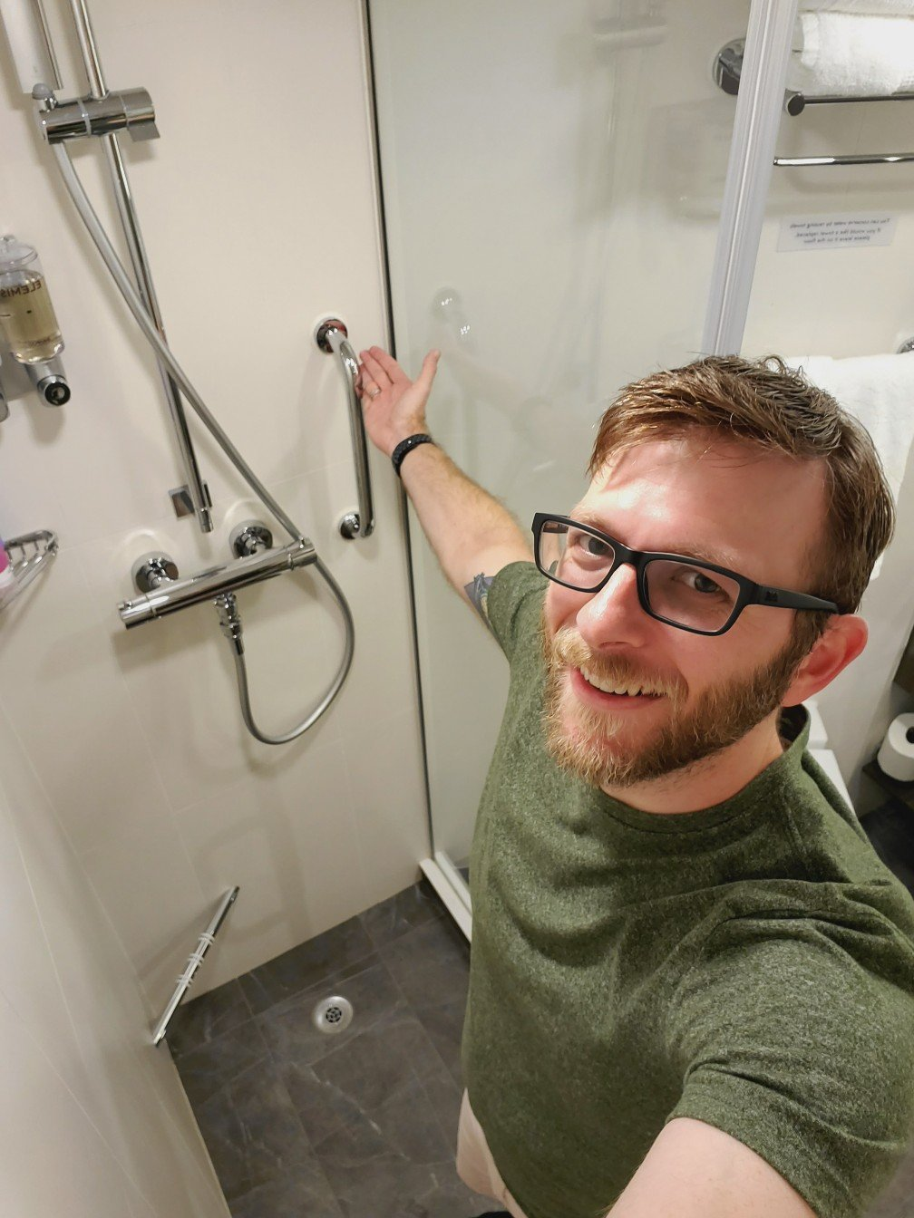 Reaching Across a the Shower - Very Large Showers in Standard Staterooms on Nieuw Statendam