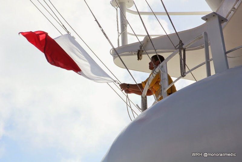 A crew member on the Disney Wonder raises the pilot flag to indicate a pilot is on board.
