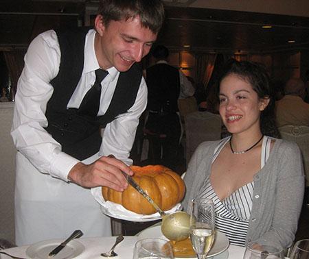 Enjoying vegan pumkin soup in the Grand Dining Room on Oceania Marina