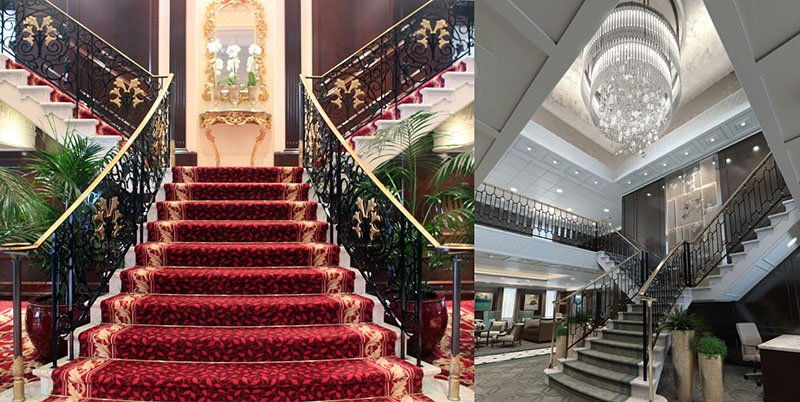 Oceania's R-Class Ships' Grand Staircase Before & After OceaniaNEXT
