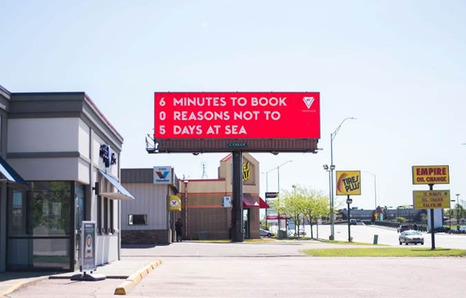 Virgin Voyages South Dakota Billboard - 6 Minutes to Book, 0 Reasons Not To, 5 Days at Sea