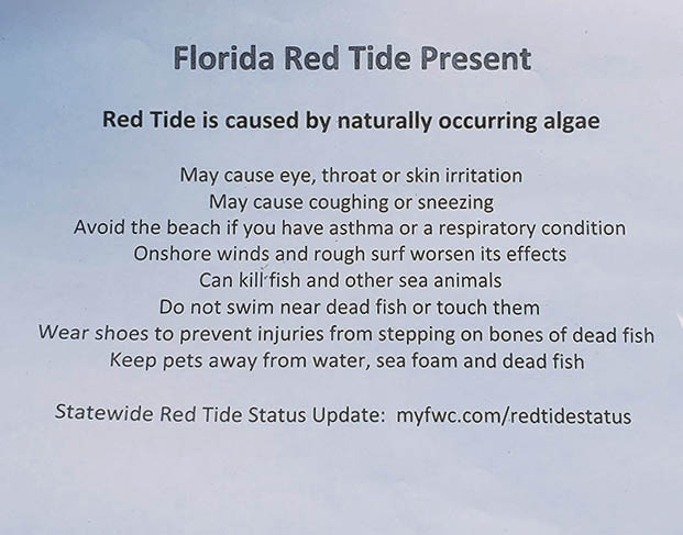 Information given to beach-goers during red tide