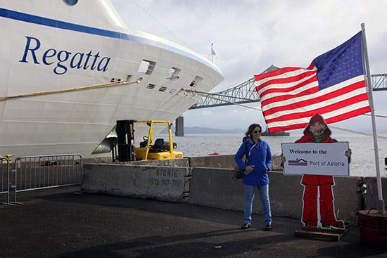 Larissa in front of Oceania Regatta in Astoria, Oregon